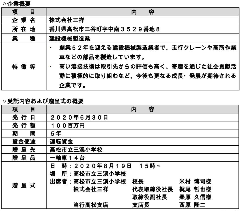 株式会社伊予銀行が受託した株式会社三祥発行の「ふるさと応援私募債『学び舎』」について